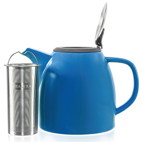 Tealyra - Drago Ceramic Teapot Blue - 37-ounce (4-6 cups) - Large Stylish Teapot with Stainless Steel Lid - Extra-Fine Infuser To Brew Loose Leaf Tea - Leed-Free - 1100ml