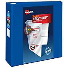 """Avery Heavy Duty View 3 Ring Binder, 4"""" One Touch EZD Ring, Holds 8.5"""" x 11"""" Paper, 1 Pacific Blue Binder (79814)"""