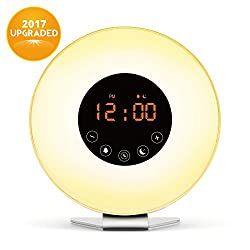 Wake Up Light, Digital Sunrise Alarm Clock-[2017 Upgraded] with Multi-Colorful Night Light, 6 Nature Sounds, FM Radio, Sunrise and Sunset Simulation Perfect Suit for Bedside-Gift Set