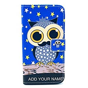 TOPQQ Star Owl Cartoon Pattern PU Leather Full Body Case with Card Slot for Samsung Galaxy S5 I9600