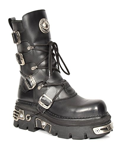 in pelle con Boots Black Men New Biker vera Design Laces Rock Style fibbia Piattaforma n8CxwgxqUv