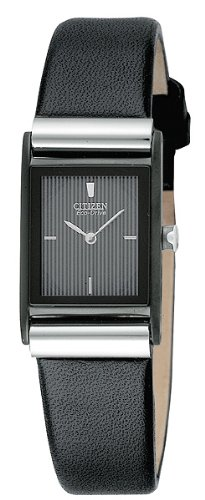Citizen Womens EW9215 01E Eco Drive Stainless Steel Watch with Black Leather Band