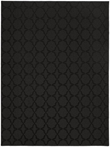 Garland Rug Sparta Area Rug, 6' x 9', Black (Solid Black Area Rug)
