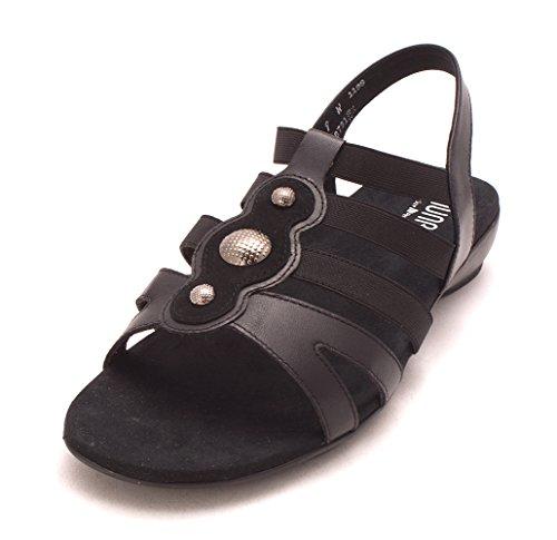 Munro Frauen Offener Zeh Leger Flache Sandalen Black/Leather