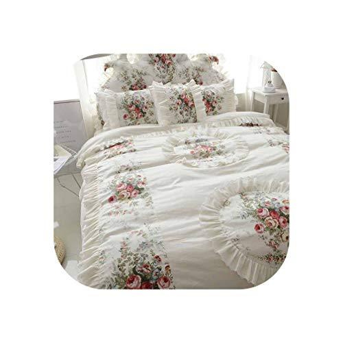 Beige Bedding Set Luxury 4/6pcs Printing Ruffles Duvet Cover Bed Skirt Bedspread Bedclothes Cotton Queen King,Beige B,Full Size 6pcs (Ikea King Size Memory Foam Mattress Topper)