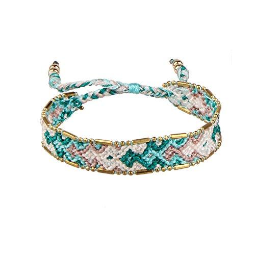 Green/White Boho Handmade Woven Braided Friendship Bracelet Wristband