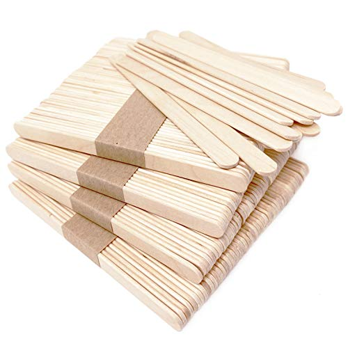 Makerstep 200 Natural Wood Craft, Popsicle Sticks for Crafts 4.5 Inch, Waxing Spatulas, Epoxy Resin Stirring, Ice Cream Candy Making and Garden Markers. Smooth, Splinter-Free, Wooden Wax Sticks