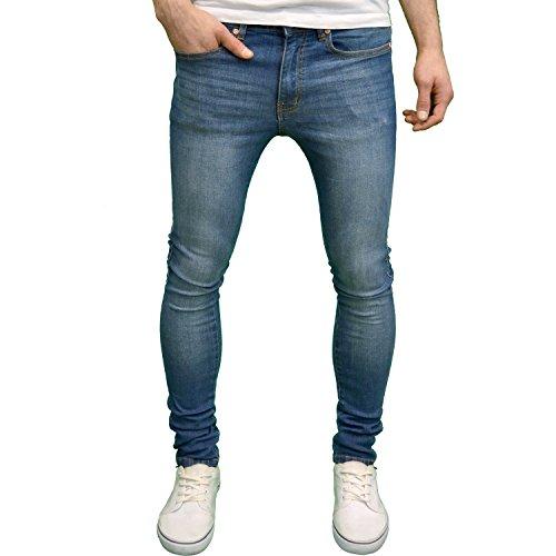Branded Denim (526Jeanswear Verona Mens Designer Branded Stretch Super Skinny Fit Jeans (28W x 32L, Midwash))