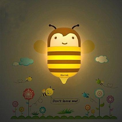 3D Cartoon Night Light Wall Sticker for Room Lamp LED Saving Light, Kid Nursery Night Light Suit for Baby,Children, Kids(Little Bee)