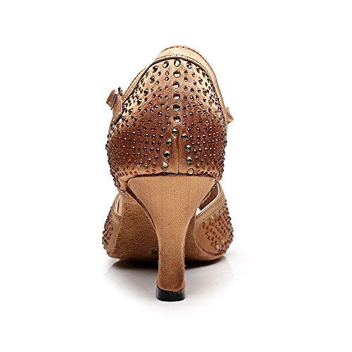 Cdso Womens Rhinestone Scarpe Da Ballo Sala Da Ballo Latino Salsa Scarpe Da Ballo Sandali 2.95 Pollici Heel Bronzo
