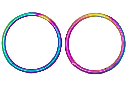 (Forbidden Body Jewelry Pair of 2 Rings: 16g 7/16 Inch Surgical Steel Rainbow IP Plated Seamless Segment Hoop Rings )