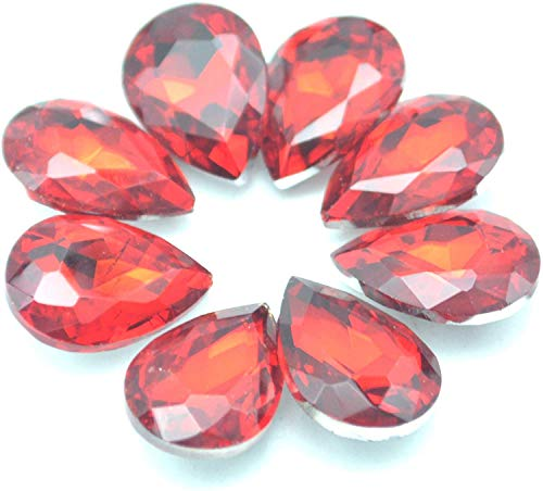 Catotrem Glass Teardrop Crystal Resin Rhinestone Pointback Faceted Jewelry Making DIY Craft(80pcs-red)