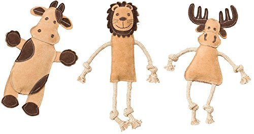 - Ethical Pets Dura-Fused Leather Assorted Barnyard, Jungle, and Forest Animals Dog Toys (Bundle)