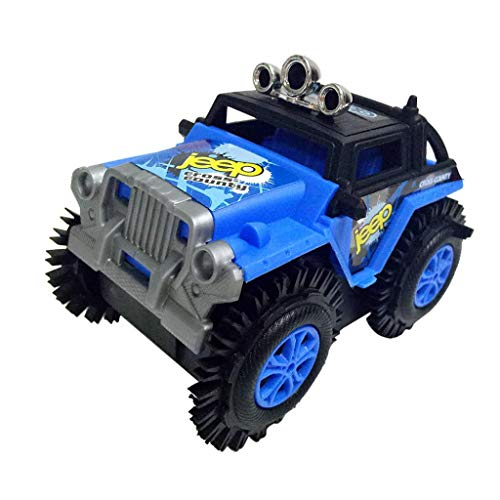Gbell Creative Automatically Turn Over Military Truck Car Model Toys, Electric Dumper Gift Toy for Kids Boys Girls 6-15 Years Old (Blue)