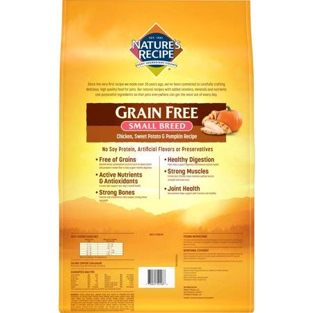 Amazon.com: Natures Recipe Small Breed Grain Free Easy to Digest Chicken, Sweet Potato & Pumpkin Recipe Dry Dog Food, 12-Pound (3052152106) - Pack of 2: ...