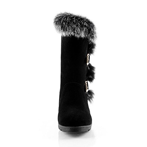 AdeeSu Girls Buckle Fur Collar Chunky Heels Frosted Boots Black e2ycP3m