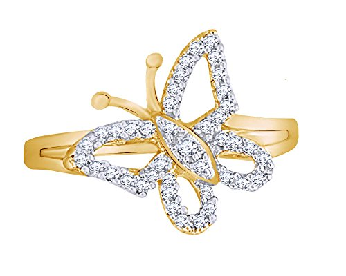 Wishrocks Round Cut White Natural Diamond Butterfly Ring in 14K Yellow Gold Over Sterling Silver (1/5 Cttw)