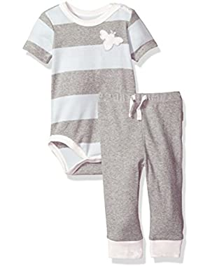 Baby Boys' Organic Short Sleeve Bodysuit and Jogger Pant