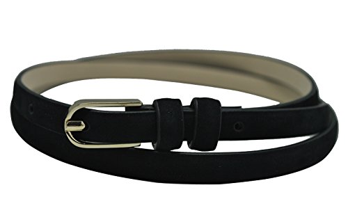 Ground Mind Women Nubuck Leather Skinny Solid Color Belt Black2 M 30 inches-32 inches