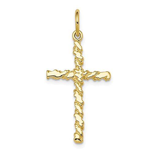 10k Yellow Gold Nugget Cross Religious Pendant Charm Necklace Latin Fine Jewelry Gifts For Women For Her ()