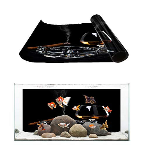 (Fantasy Star Aquarium Background Ashtray Cigar Wine Glass Unhealthy Habit Fish Tank Wallpaper Easy to Apply and Remove PVC Sticker Pictures Poster Background Decoration 18.4