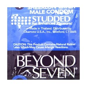 Okamoto Beyond Seven Studded Lubricated Ultra Thin Sheerlon Latex Condoms for Enhanced Pleasure - Case of 1008