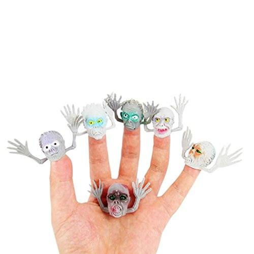 Novelty Ghost Finger Puppets for Kids and Adults, 6Pcs Fuzzy Carnival Party Favors Trick Toy Playing Story Halloween Time By (Farm Story Halloween)