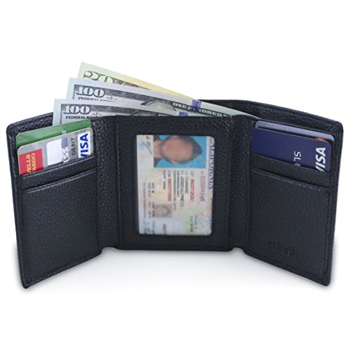 DASH Co. Slim TriFold RFID Men's Wallet w/ID Window, Extra Capacity, 9 Slots and Cash (Pebble Leather)
