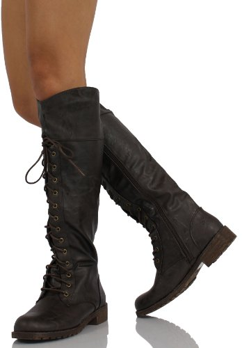 Brown Lace Heel Lug30 Low Boots Riding Combat Hi MFS High Knee up 55 BgqwRdw