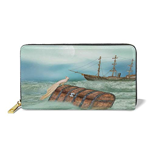 Women's Long Leather Card Holder Purse,Antique Old Trunk In Ocean Waves With Magic Bird Pirate Boat Picture,Elegant Clutch Wallet