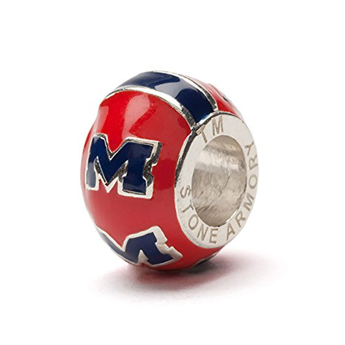 University of Mississippi Charm | Ole Miss Rebels- Navy M on Red Round Bead Charm | Officially Licensed by The University of Mississippi | Fits Most Popular Charm Bracelets | Stainless Steel