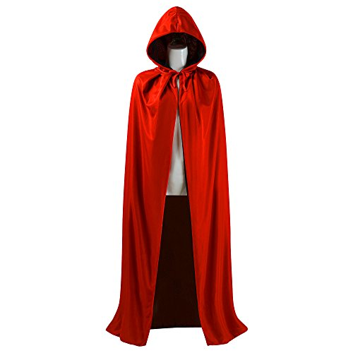 [Black and Red Reversible Halloween Christmas Cloak Masquerade Party Cape Costume (55 inch, With] (Black Costumes Cape)