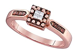 0.25 cttw 10k Rose Gold Princess Cut White Diamond Cognac Brown Diamond Halo Ring Size 4 11