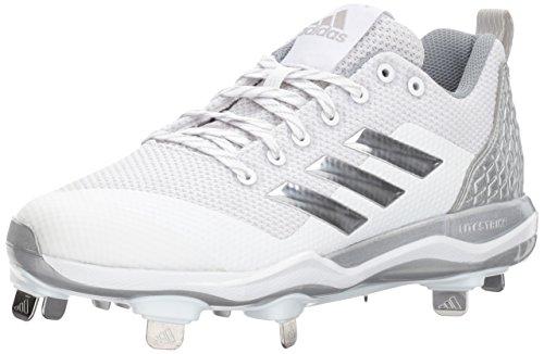 adidas Men's Freak X Carbon Mid Softball Shoe, White/Metallic Silver/Light Grey, 6.5 Medium US (Softball Mid Shoe)