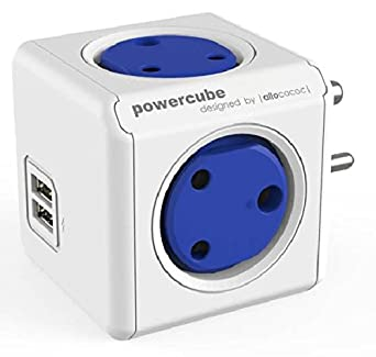 PowerCube Spike Guard Wall Adapter with 4 [India Socket] (These is not PowerBank) Outlet 5V 2.1A Dual USB Mobile Tablet iPhone iPad Charger
