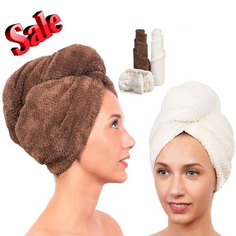 (Microfiber Hair Towel for Women - Drying Twist Wrap for Curly, Long, Thin or Short Hair - Ultra Absorbent & Anti Frizz Turban for Sleeping and Showering -2 Pack PLUS Soft Headband (Ivory/Brown))