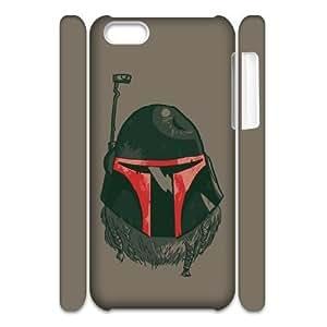 XiFu*Mei3D iphone 4/4s Case,Boba Fett Black Helmet Beard Hard Shell Back Case for White iphone 4/4sXiFu*Mei