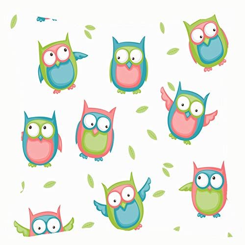 Colorful Cartoon Owls Leaves Animals wildlifenature Throw Pillow Case Square Soft Cushion Cover for Sofa 18x18 inch]()