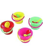 PETUNIA 4pcs Mini Juguetes de Playa Set Cubo Pala rastrillo Playa Arena Jugar Juguetes para niños