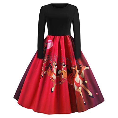 (Christmas Women's Holiday Vintage Black Evening Prom Costume Swing Dress,Girls Santa Claus Printed Gifts Flare Cocktail Dress)