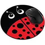 Non-Slip Round Mousepad, FINCIBO Red LadyBug Mouse Pad for Home, Office and Gaming Desk
