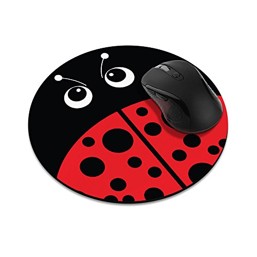 Non-Slip Round Mousepad, FINCIBO Red Ladybug Mouse Pad for Home, Office and Gaming - Ladybug Pad Mouse