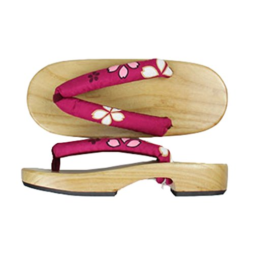 Ez-sofei Chaussures Japonaises En Bois Geta Sabots B-vin Rouge