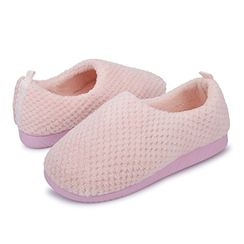 JIASUQI Classic Comfort Non Slip House Shoes Bedroom Slippers for Women and Girl Pink US 8.5-9.5 Women,7-7.5 Men