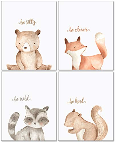 Woodland Nursery Wall Decor Art - 8x10 Unframed Set of 4 Prints - Forest Creatures Boy Girl Watercolor Quotes Animal Artwork Posters - Bear Fox Raccoon - Confetti Bear