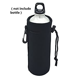 Neoprene Water Bottle Carrier ,Water Bottle Cooler Sleeve Tote Bag Pouch Holder Strap for Kid Children Women MEN Biker Travel Cycling Climbing Sports (black)
