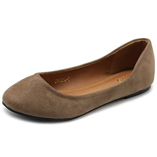 (Ollio Womens Shoe Ballet Light Faux Suede Low Heels Flat ZM1014(8 B(M) US, Taupe))