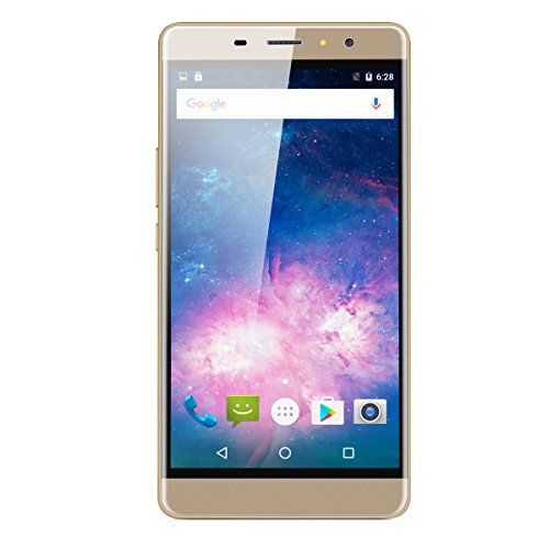 Landvo Max 6.0 Zoll 3G-Smartphone Android 6.0 IPS Screen MT6580 Quad Core 1.3GHz Handy ohne Vertrag Dual SIM 1GB RAM+16GB ROM Cellphone Dual Kamera Smart Wake Fingerprint WIFI Gold