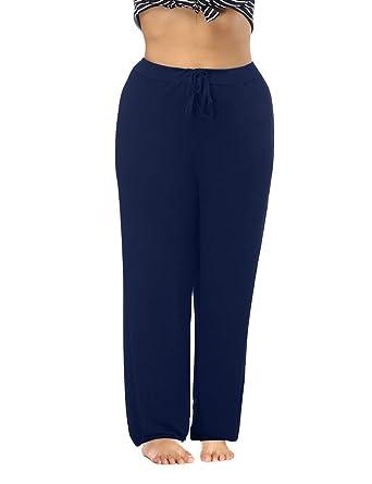 3189aa91c46b8 Allegrace Women s Plus Size Comfy Stretch Long Pajama Pants Drawstring  Sleep Lounge Pants Dark Blue 4X