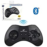 Retro-Bit Official Sega Saturn Bluetooth Controller 8-Button Arcade Pad for Android, PC, Mac, Steam - Black